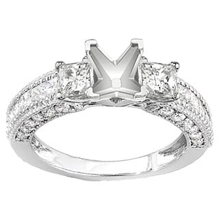 Elora 14k White Gold 1 5/8ct TDW Diamond Semi Mount 3-stone Engagement Ring (H-I, I1-I2)