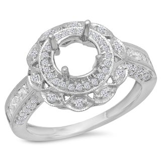 14k White Gold 1ct TDW Round Diamond Semi Mount Engagement Ring (H-I, I1-I2)