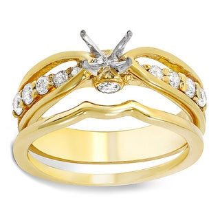 14k Yellow Gold 1/2ct TDW Brilliant Round Diamond Semi-mount Engagement Ring Set (H-I, I1-I2)
