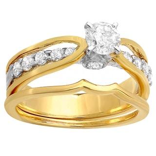 1.00 Carat (ctw) 14k Yellow Gold Brilliant Round Diamond Bridal Ring Set