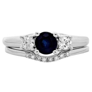 14k White Gold 1/3ct TDW Diamond and Blue Sapphire 3-stone Bridal Set (H-I, I1-I2)