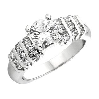 Elora 14k White Gold 1/2ct Round Diamond Semi Mount Bridal Engagement Ring