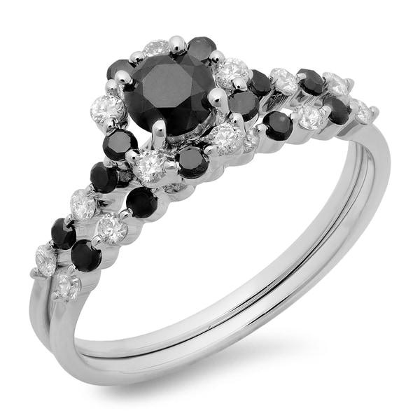 Elora 14k White Gold 1 1/10ct TDW Round Black and White Diamond Bridal Halo Engagement Ring