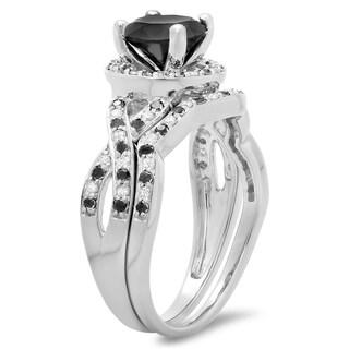 Elora 14k White Gold 1 3/5ct TDW Round Black and White Diamond Halo Bridal Engagement Ring (H-I, I1-I2)
