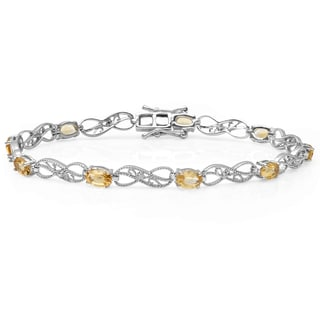 Elora Sterling Silver 3 4/5ct TDW Oval-cut Citrine and Round-cut White Diamond Infinity Bracelet (I-J, I2-