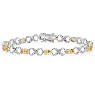 Elora Sterling Silver 4 1/4ct TDW Oval-cut Citrine and Round-cut White Diamond Infinity Bracelet (I-J, I2-