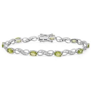 Sterling Silver 4 1/10ct TDW Oval-cut Peridot and Round-cut White Diamond Infinity Bracelet (I-J, I2-I3)