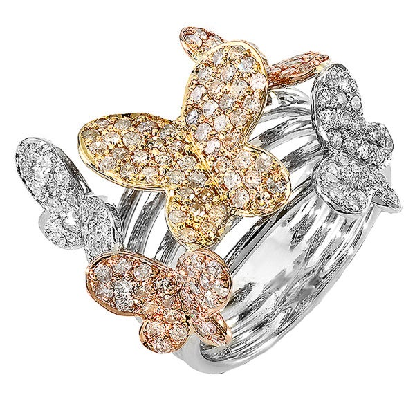 Elora 14k White Gold 1 1/3ct TDW Round Diamond Butterfly Cocktail Ring