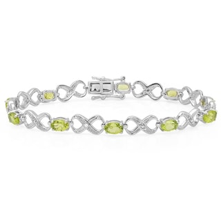Sterling Silver 5 1/8ct TDW Oval-cut Peridot and Round-cut White Diamond Infinity Bracelet