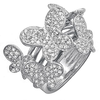18k White Gold 1 1/3ct TDW Round Diamond Butterfly Ring (H-I, I1-I2)