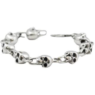 Black Enamel Skull Stainless Steel Link Bracelet
