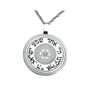 Circular Jewish Pendant Stainless Steel Necklace