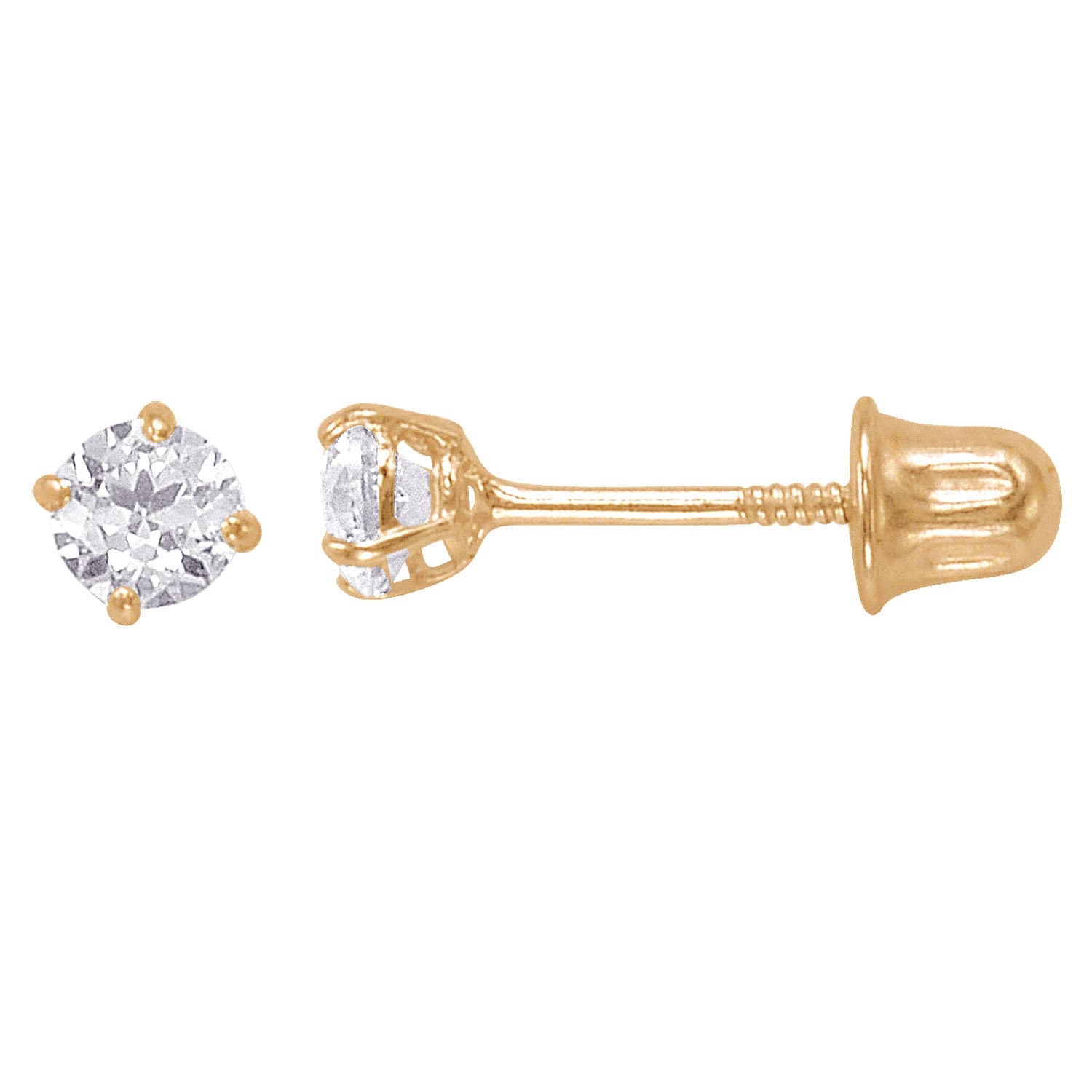 14k Solid Gold Round 3mm Superbright Back Cubic Zirconia Stud Earrings