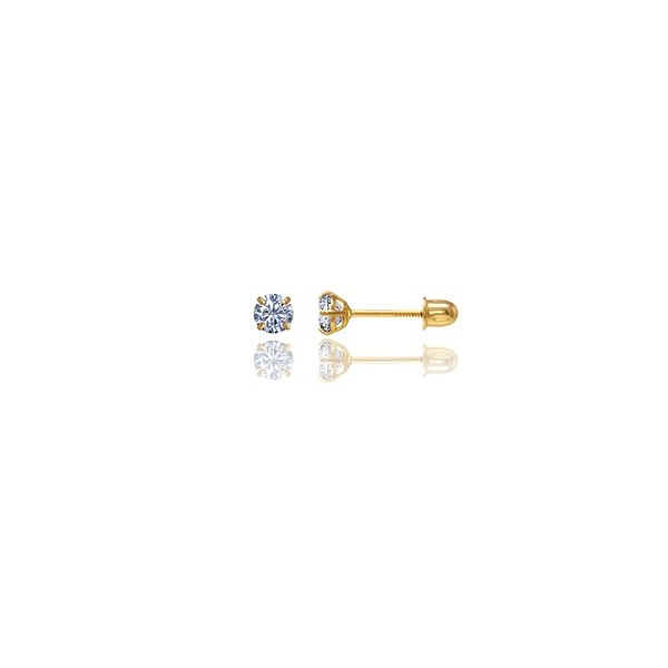 14kt Solid Gold Round 3mm Screw-Back Cubic Zirconia Stud Earrings