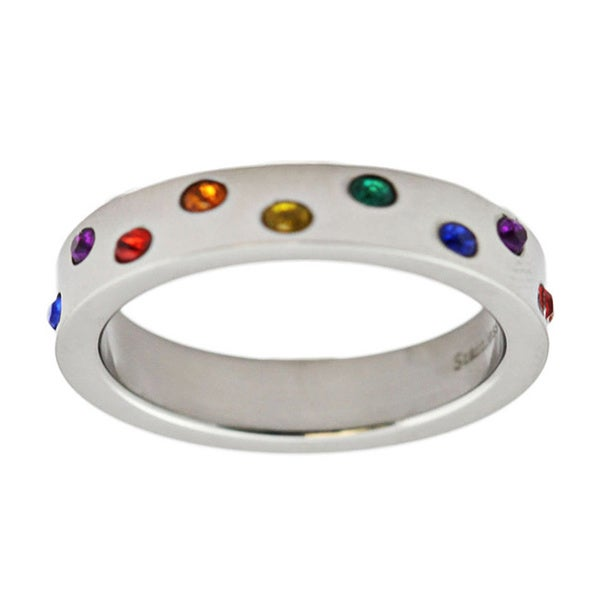 Stainless Steel Rainbow Colored Gemstone Wedding Band