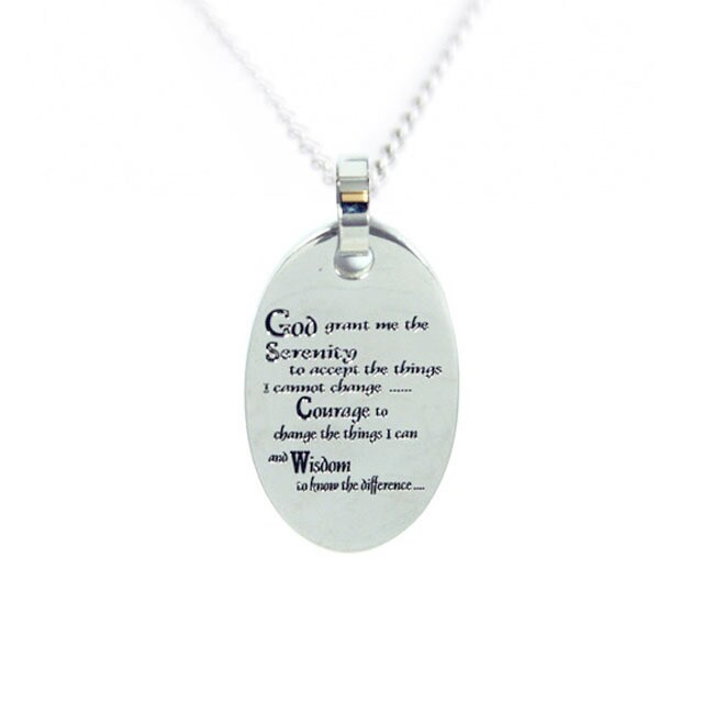 Rush Industries Stainless Steel Serenity Prayer Necklace ...