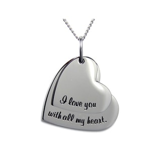 I Love You With All My Heart Double Heart Pendant