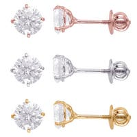 Sterling Silver 6mm Round Superbright Screw-Back Cubic Zirconia Stud Earrings