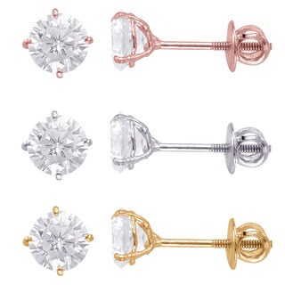 Sterling Silver 6mm Round Superbright Screw-Back Cubic Zirconia Stud Earrings (3 options available)