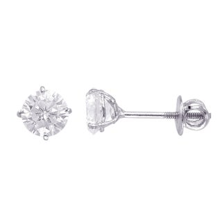 Sterling Silver 6mm Round Superbright Screw-Back Cubic Zirconia Stud Earrings (Option: Sterling Silver)
