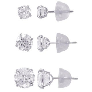 14k Solid Gold 4,5,6,mm Round Superbright CZ Stud Earrings Set