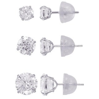 14k Solid Gold 4,5,6,mm Round Superbright CZ Stud Earrings Set (3 options available)