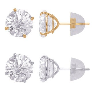 14k Solid Gold 7mm Round Duo Superbright Cubic Zirconia Stud Earrings Set