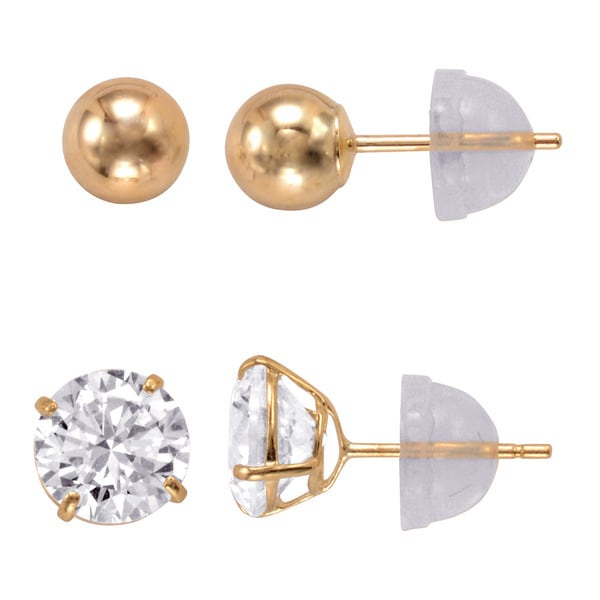2 5 Mm Earrings: Shop 14k Gold 6mm Round Cubic Zirconia And 5mm Gold Ball
