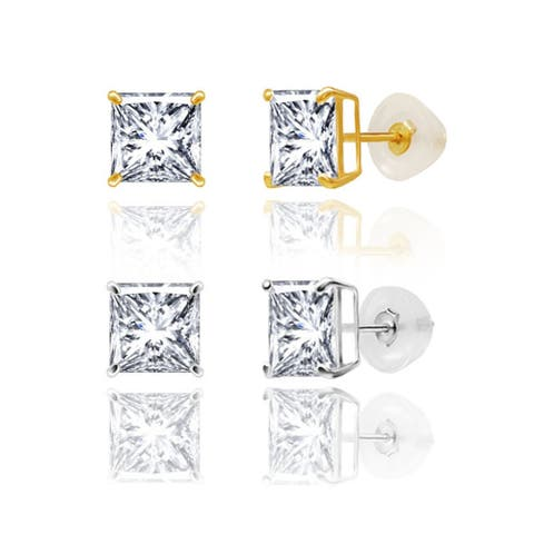 14kt Gold 6mm Square Duo Superbright Cubic Zirconia Stud Earrings Set