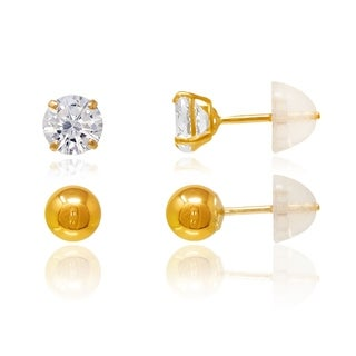 14k Gold 5mm Square Cubic Zirconia and 5mm Gold Ball Earrings Set