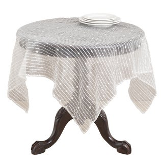 Sheer Tablecloth with Fuzzy Stripes