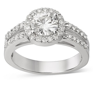 Charles and Colvard Forever Brilliant 14k White Gold 1 2/5 TGW Moissanite Halo Ring