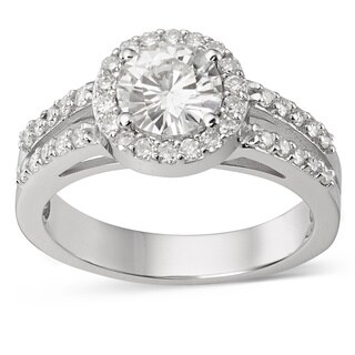 Charles & Colvard 14k White Gold 1 2/5ct DEW Forever Brilliant Moissanite Halo Engagement Ring
