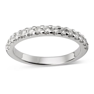 Charles and Colvard 14k Gold 1/ 2 TGW Round Moissanite Shared Prong Bridal Band