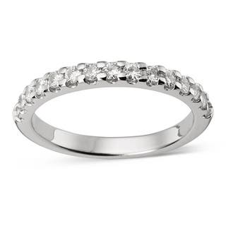 Charles and Colvard 14k Gold 1/ 2 TGW Round Moissanite Shared Prong Bridal Band|https://ak1.ostkcdn.com/images/products/9629288/P16814779.jpg?impolicy=medium