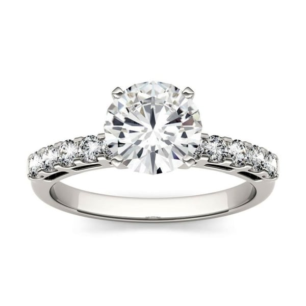 Charles & Colvard 14k White Gold 1 4/5ct DEW Forever One Near Colorless Solitaire with Side Accents Engagement Ring. Opens flyout.