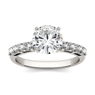 Charles & Colvard 14k White Gold 1 4/5ct DEW Forever One Near Colorless Solitaire with Side Accents Engagement Ring