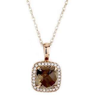 Diamonds for a Cure 14k Rose Gold 1/6ct Diamond and Smokey Quartz Necklace (G-H, SI1-SI2)