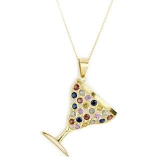 Soho Boutique by Neda Behnam 18k Gold and Multicolor Sapphire Martini Cup Pendant Necklace