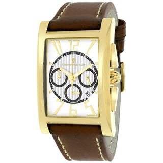 Christian Van Sant Men S Cannes Square Brown Strap Watch