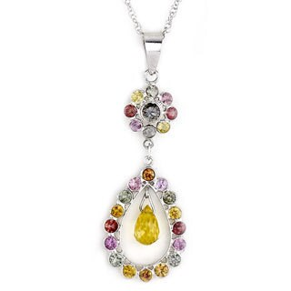 Soho Boutique by Neda Behnam 18k White Gold Multicolor Sapphire Teardrop Pendant Necklace