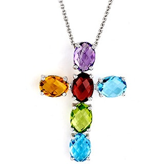Neda Behnam Soho Boutique 14k White Gold Multigemstone Cross Necklace