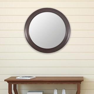 Bronze Woodgrain Round Mirror