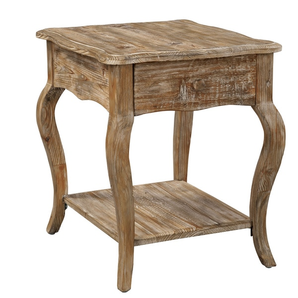 Rustic Wood Oval Coffee Table: Alaterre Rustic Reclaimed Wood End Table