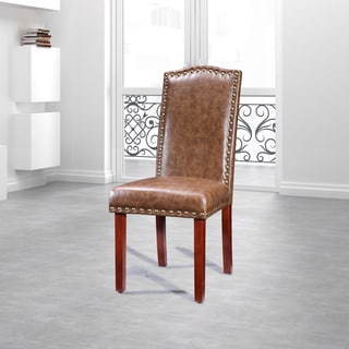 Royal Comfort Collection Luxury Nail Head Trim Faux Leather Parson Chairs  (Set Of 2)
