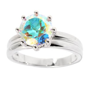 Sterling Silver Opalescence Topaz Solitaire Ring