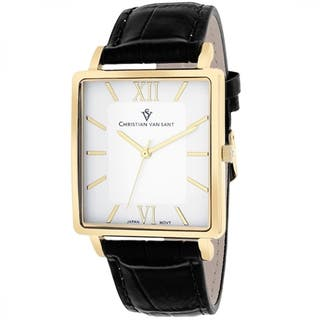 Christian Van Sant CV8512 Men's Monte Cristo Square Black Strap Watch|https://ak1.ostkcdn.com/images/products/9629528/P16815044.jpg?impolicy=medium