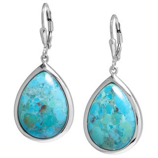 Sterling Silver Turquoise Teardrop Pear Cut Leaverback Earrings with Filigree Backing