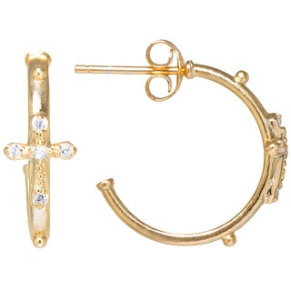 Gold over Sterling Silver Hoop Earrings with Textured 'Cross' Accented by White Cubic Zirconia Stones Studs