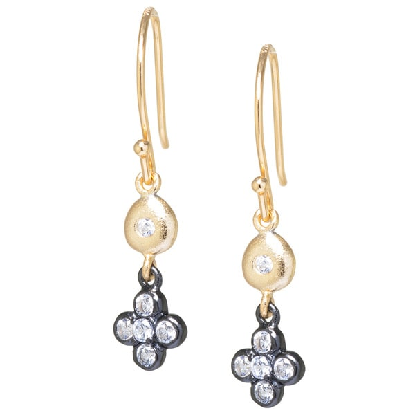 Gold over Sterling Silver and Black Rhodium Plated Sterling Silver White Cubic Zirconia Clover Flower Drop Earrings